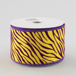 "2.5"" Purple/Gold Tiger Stripe Ribbon (10 Yards) RW6059"