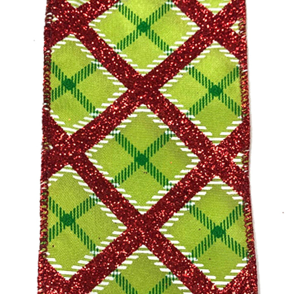 2.5X50Y Ribbon LIME STN/RED-WHT BIG DIAG PLAID X501940-712