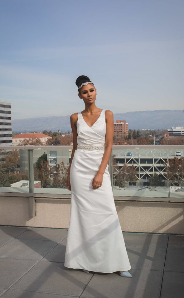 Ivory Satin Sleeveless Sleek Gown