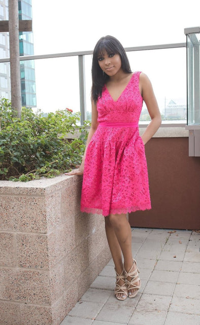 Pink Sequin Strapless Dress