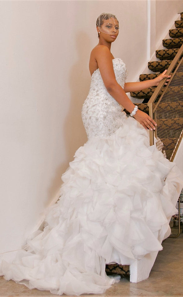 Ivory Fit and Flare Beaded Gown