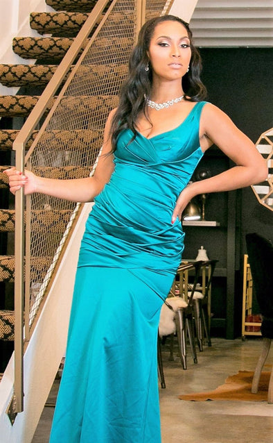 Teal Blue Stretch Satin Sleeveless Gown