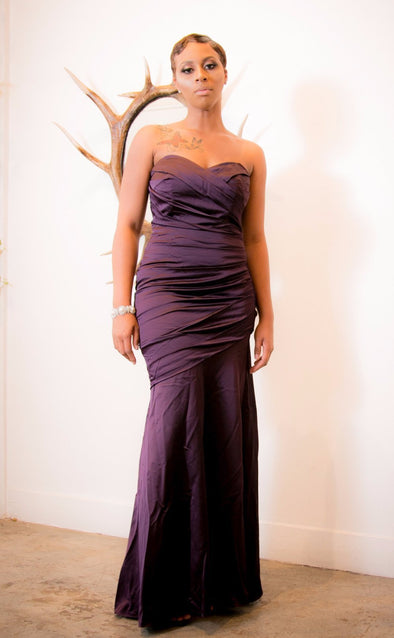 Plum Satin Stretch Sweetheart Gown