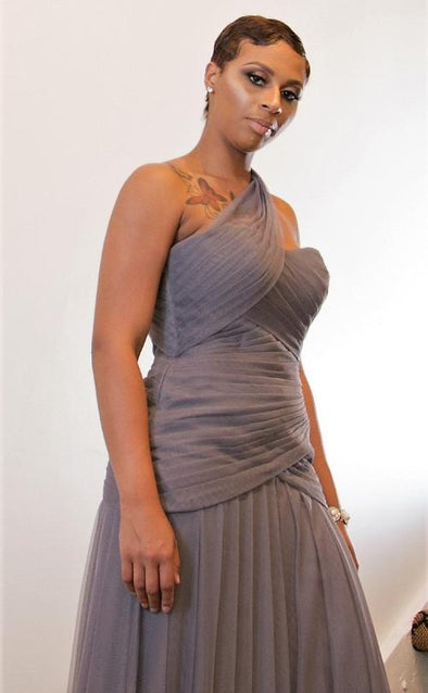 Grey One Shoulder Tulle Gown