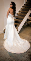 Ivory Satin Fit and Flare Wedding Gown