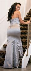 Grey Satin Mermaid Gown