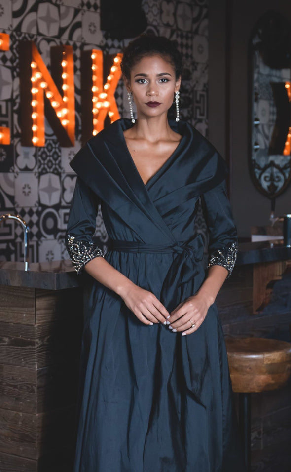 Black Wrap Dress Jacket with Beaded Sleeves