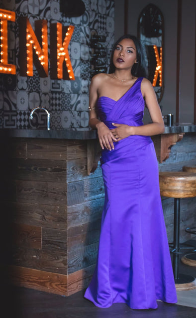 One Strap Purple Satin Mermaid Gown