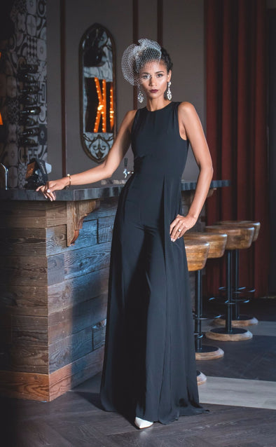 Black Bridal Pants Jumpsuit with Cape