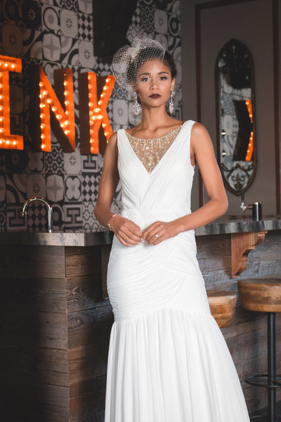 White Sleeveless Gown with Shirred Jewelry Necklace