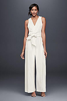Ivory Surplice Bodice Crepe Jumpsuit with Wide Sash