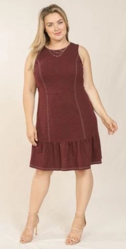 Contrast Stitch Dress- Plus Size