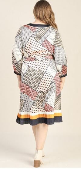 Mix Print Dress Plus Size