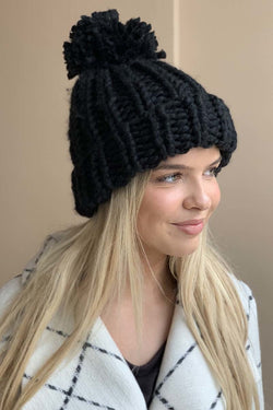 Chunky Knit Hat- Black