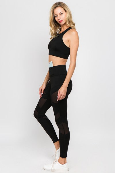 Active Leggings Mesh Cutouts