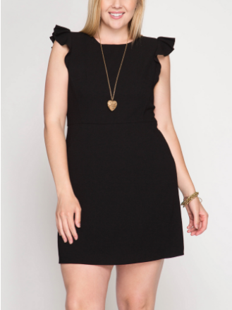 Ruffle Sleeve Fitted Dress Black (Plus Size)