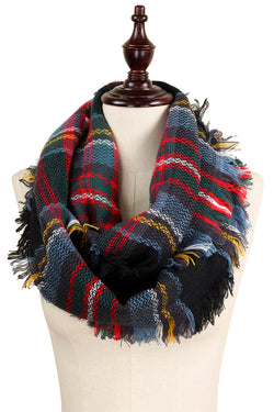 Infinity Scarf- Black Plaid