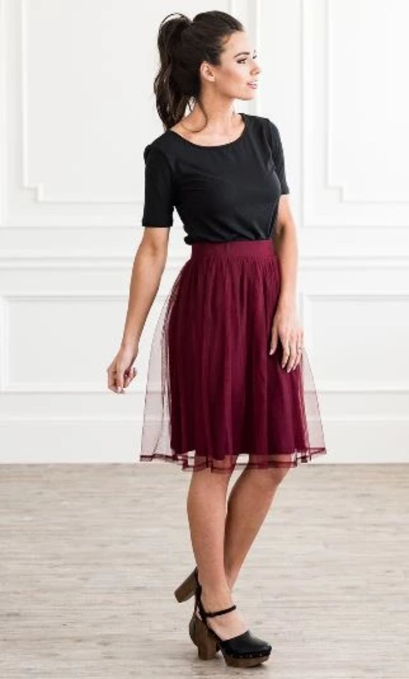 Tulle Skirt- Cranberry