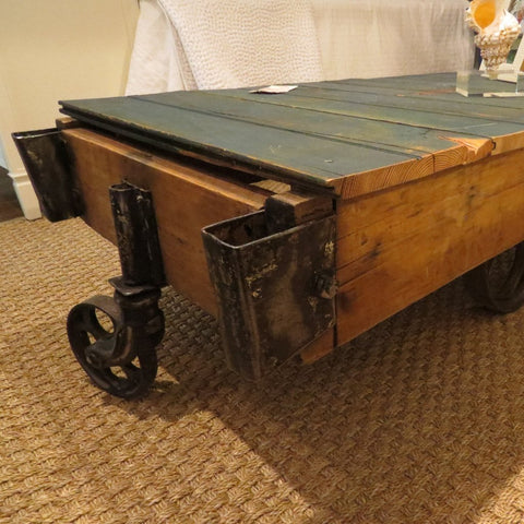Antique Industrial Rolling Cart Table