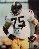 Mean Joe Greene Signed Pittsburgh Steelers 8x10 Photo Inscribed HOF 87