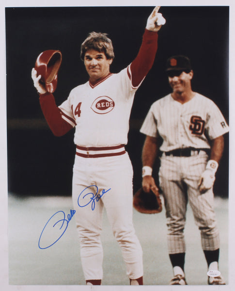 Pete Rose Cincinnati Reds Signed 16x20 Photo (JSA)