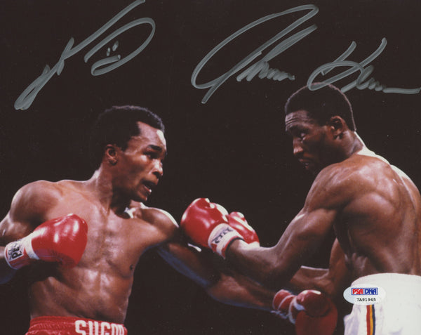 "Sugar Ray Leonard & Tommy ""Hitman"" Hearns Dual Signed 8x10 Photo (PSA/DNA)"