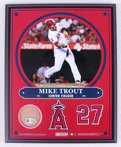 low priced 6a3f9 73bcb Mike Trout Angels 8x10 Photo Plaque with Authentic Game Used Angel Stadium  Dirt