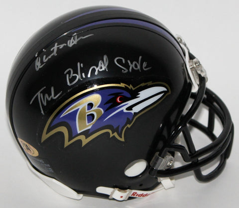 "Quinton Aaron Signed Ravens Mini Helmet Inscribed ""The Blind Side"" (MAB)"