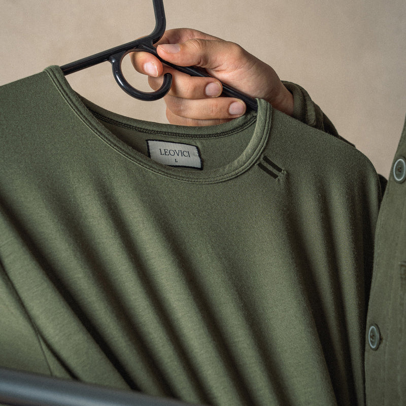 Drop Cut T Shirt - Olive