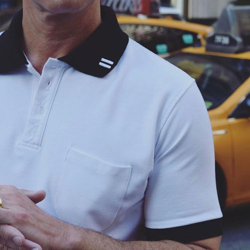 Lightweight Polo - Short Sleeve - White with Black