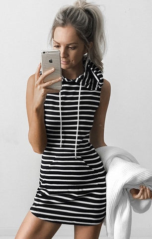 📍STRIPED HOODIE DRESS