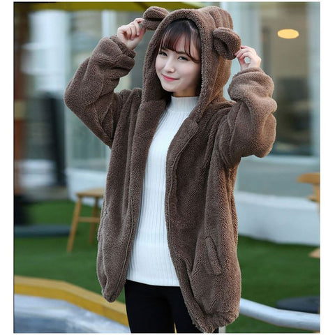 📍 FLUFFY BEAR HOODIE SWEATER