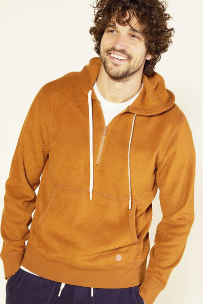 sustainable hoodie made from organic cotton and recycled poly