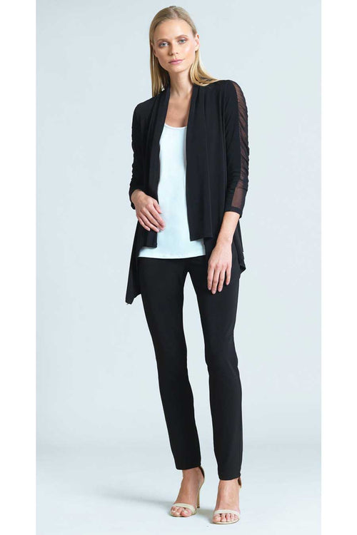 The Ruched Mesh Sleeve Cardigan is a contemporary update on a fashion basic from noted American clothing brand, Clara Sunwoo.