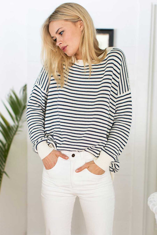The Carolyn Sweater from Emerson Fry is made from organic cotton in the USA.  It's a year round sweater with a flattering fit which pairs nicely with jeans and pants.