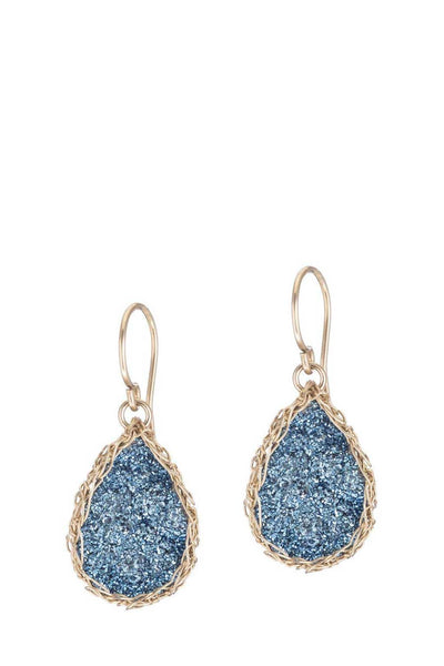 Galaxy Teardrop Earrings - cobalt