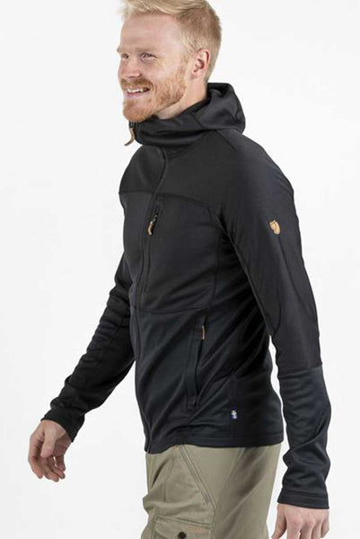 Made from 2 different poly fabrics:   Shoulders, chest and hood are made from flat knit partially recycled poly fleece that feature a soft brushed inside. Side, lower sleeves and lower torso are made from a grid structured fleece that has superior ventilation Light weight.