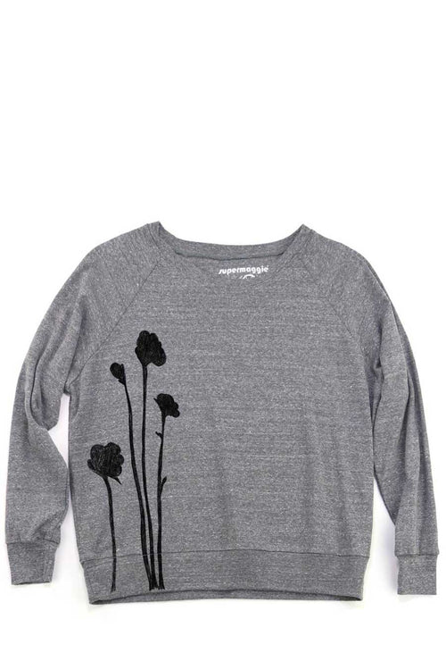 The Shadow Flowers Pia Pullover is a made-in-USA slouchy pullover with a banded bottom hem & raglan sleeves.