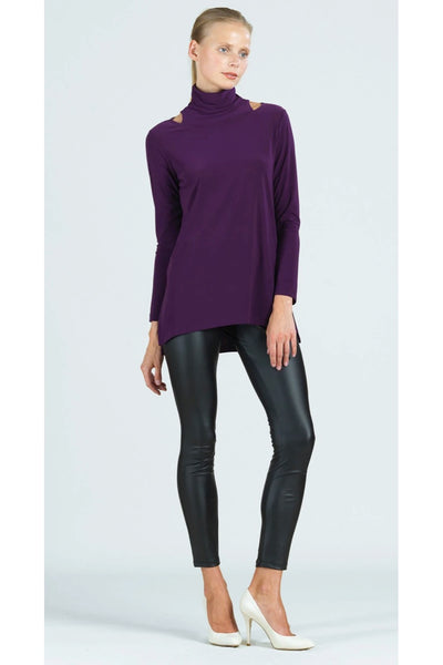 The Mock Neck Hi-Low Tunic is the perfect travel companion.  From noted American clothing brand, Clara Sunwoo.