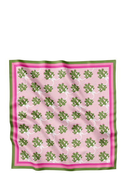 The Prinkley Cactus scarf by Centinelle is a 100% twill silk head scarf celebrating a festive and favorite desert icon.