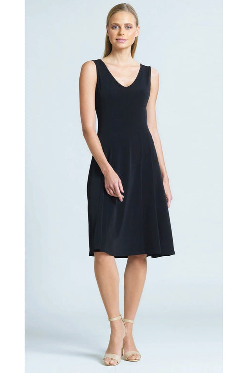 The V-Neck Sleeveless Dress from Clara Sunwoo is the perfect little black dress. It's made from a wrinkle-free, quick drying jersey-like fabric and features a v-neck, A-line hem and princess seam for a flattering fit.