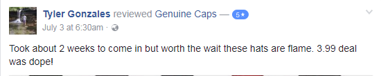 Tyler Gonzales genuine caps facebook review