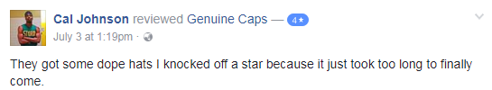 cal johnson genuine caps facebook review