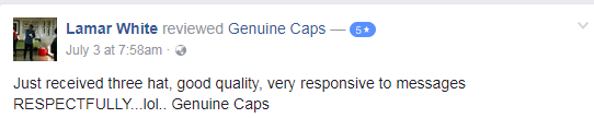 Lamar white 5 star genuinecaps.com Facebook Review