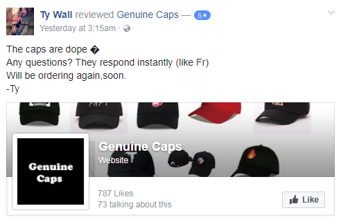 Ty Wall Genuine Caps Facebook Five Star Review