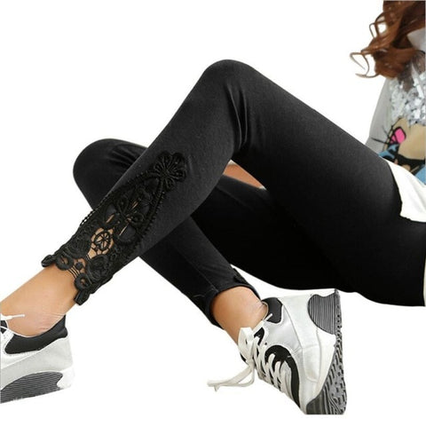 Discount Imported Cotton Leggings Side Leg Lace Triangle