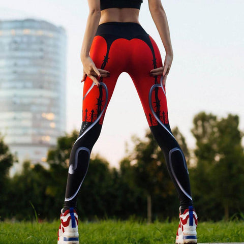 Discount Import  Sexy Heart Print Leggings Red Black Patchwork