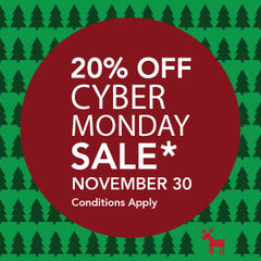 20% off cyber Monday Sale, November 30, 2020. Conditions Apply. Minimum order of $20.