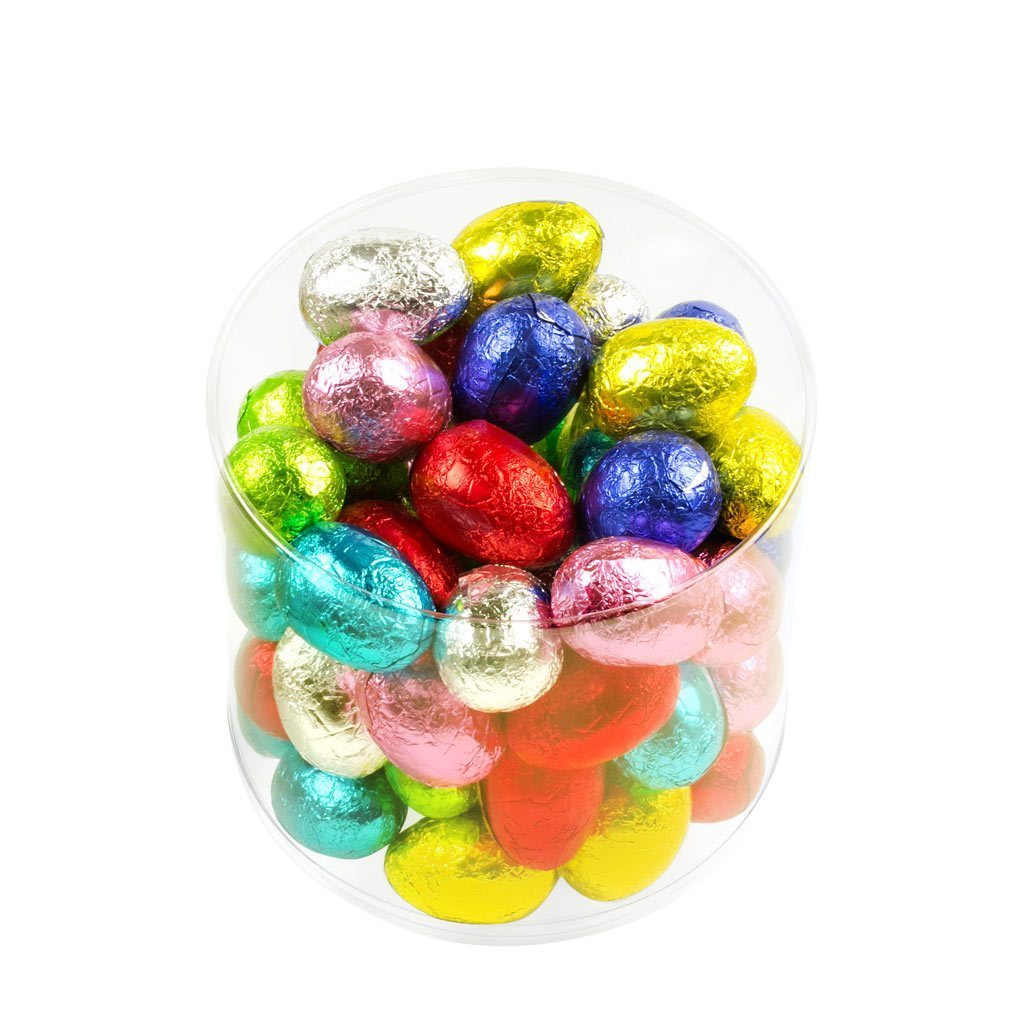 milk chocolate hollow eggs in brightly coloured foils, there are 55 eggs in each clear tub