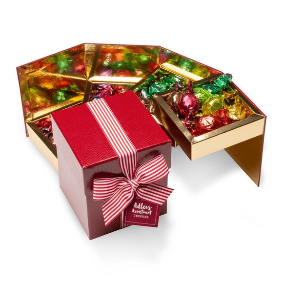 Adlers assortment 4 layer chocolate box with Christmas gold ribbon